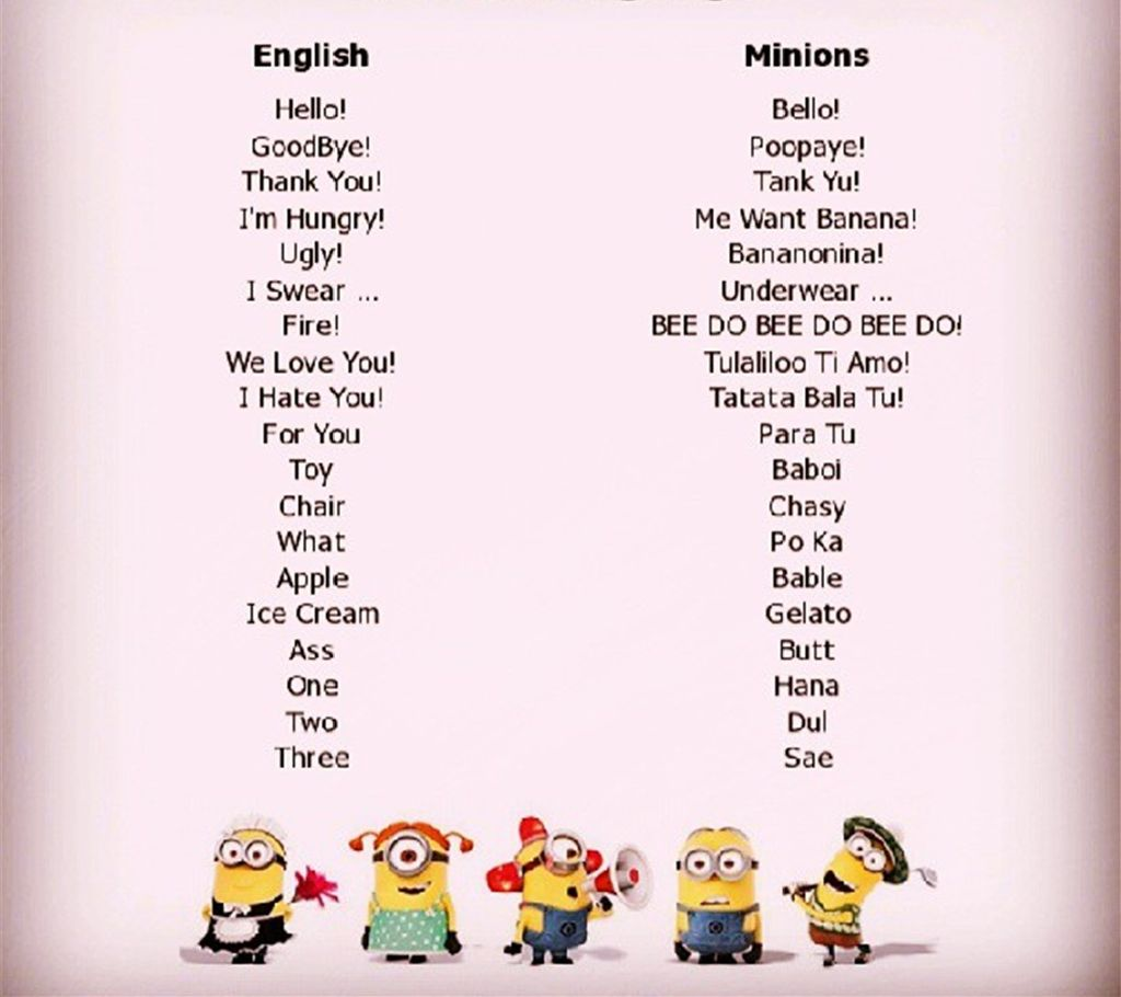 Minion Sprache   wer kann sie Minion Language Dictionary