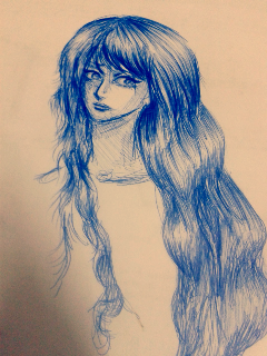 art sketch ballpoint pen drawing girl