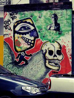 colors skull graffiti travel wall art
