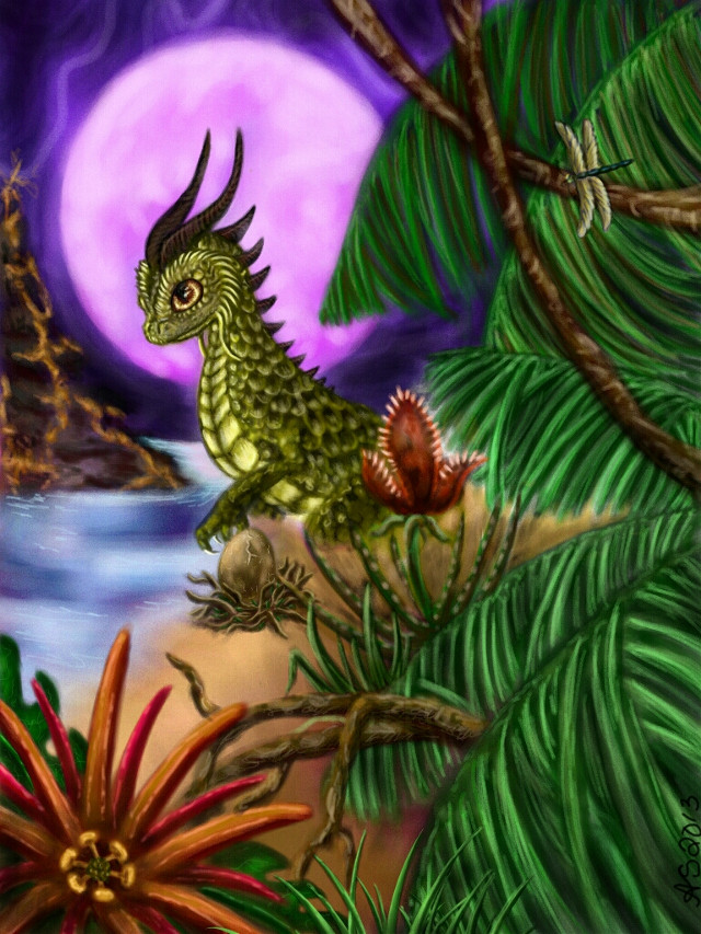 I went with a jurassic jungle...momma dragongdino lookin after her baby egg :) vote if u like my work