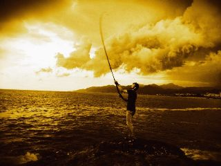 sea fisherman beach photography sepia