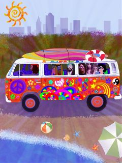 photography drawing vw hippie beach