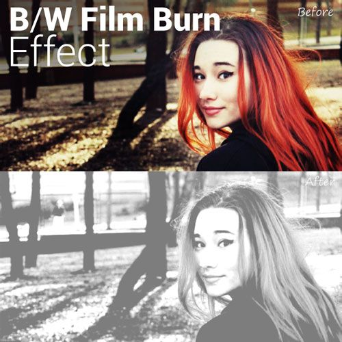 black an white film burn effect